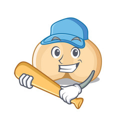 Playing baseball chickpeas character cartoon style vector