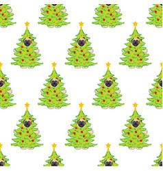 pug in christmas tree costume seamless pattern vector image