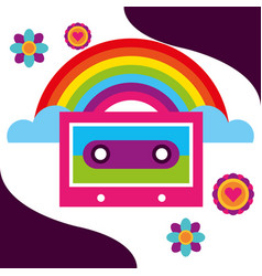 Rainbow music cassette flowers retro free spirit vector