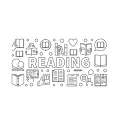 reading books horizontal banner vector image