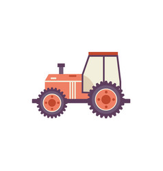 Red agricultural tractor isolated on white vector
