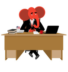 red elephant republican sitting in office animal vector image
