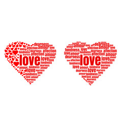 red heart made up of words and small hearts vector image