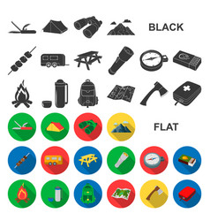 Rest in the camping flat icons in set collection vector