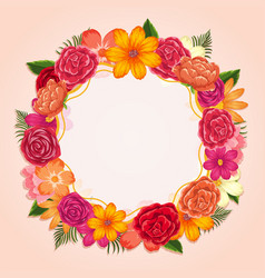 Ring of colorful flowers on white background vector