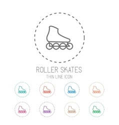 Roller skate Clean thin line style sport icon set vector image