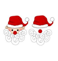 santa claus santa hat red nose and white beard vector image