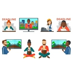 set of business characters and media people vector image vector image