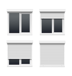 Set of Windows with Rolling Shutters vector image