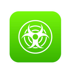 sign of biological threat icon digital green vector image