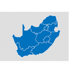 South africa map - high detailed blue map with vector
