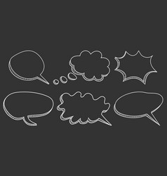 Speech bubbles icon set hand drawn on black vector