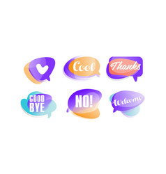 speech bubbles with dialog words like cool vector image