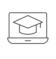 Square academic cap on laptop screen online vector
