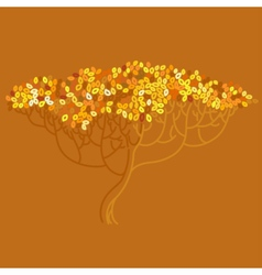 Stylized abstract orange defoliation tree vector image