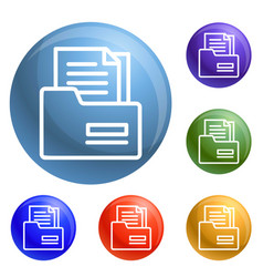 tax folder icons set vector image