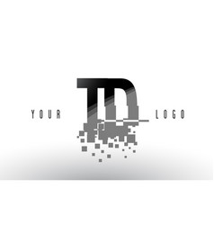Td t d pixel letter logo with digital shattered vector
