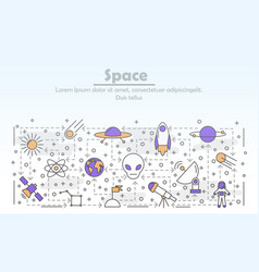 thin line art space poster banner template vector image