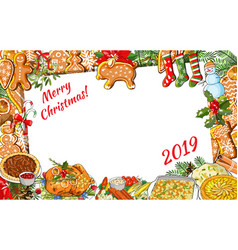 traditional christmas greeting template with vector image