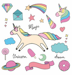 Unicorn set of colorful for design vector