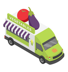 vegetables shop truck icon isometric style vector image