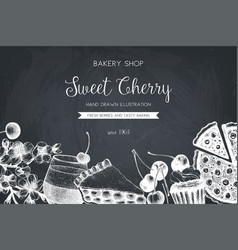 Vintage template with traditional cherry cakes vector