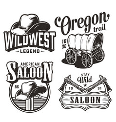 vintage wild west emblems set vector image
