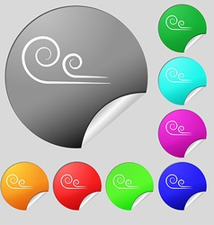 Wind icon sign Set of eight multi colored round vector