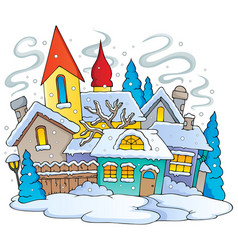 Winter town theme image 1 vector