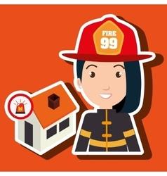 Woman firefighter house fire vector