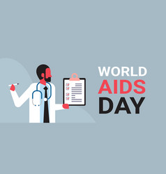 world aids day awareness male doctor hold vector image