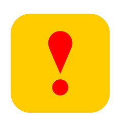 yellow square exclamation mark icon warning sign vector image