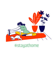 young woman character with cat doing stretching vector image