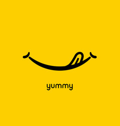 yummy face smile delicious icon logo yummy tongue vector image