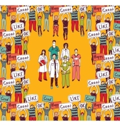 Big group doctors and happy patients color vector image vector image