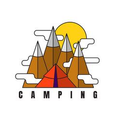 Camping in mountains logo in flat style tent vector