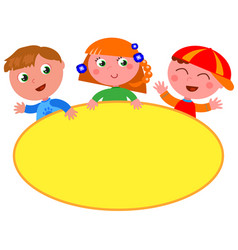 cute kids with blank yellow sign vector image vector image