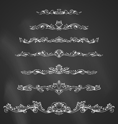 set of chalk vintage page decorations and dividers vector image