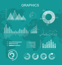 set of transparent graphs and diagrams vector image