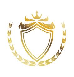 golden shield crown laurel heraldic luxury frame vector image