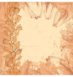 Grungy vintage card with tulips vector image vector image