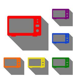 microwave sign set of red orange vector image