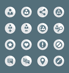flat style various social network actions icons vector image