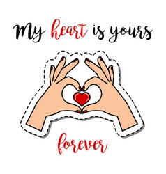 patch element with hands holding heart vector image vector image