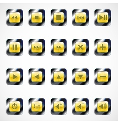 Set of glass square media buttons eps10 vector image vector image