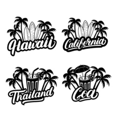 Set of Hawaii California Goa and Thailand hand vector image vector image