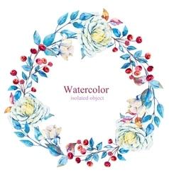 Watercolor floral wreath vector