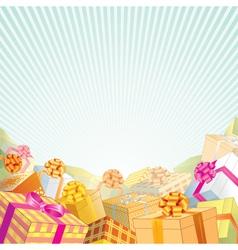 background with stack of gift boxes vector image