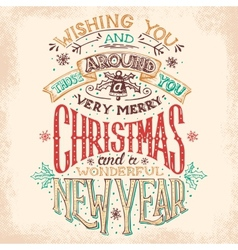 Christmas and New Year hand lettering vector image vector image