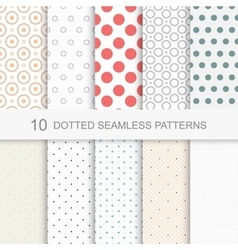 Dotted seamless patterns vector image